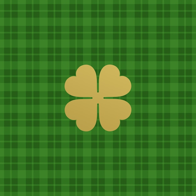 Green checkered pattern with clover leaf.  illustration Premium Vector