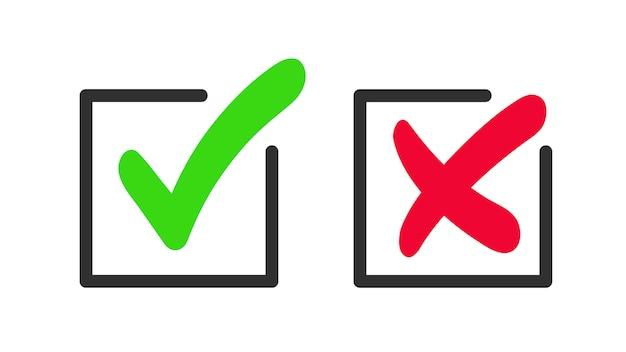 녹색 확인 표시 및 적십자 아이콘입니다. 승인 및 거부의 상징. 프리미엄 벡터