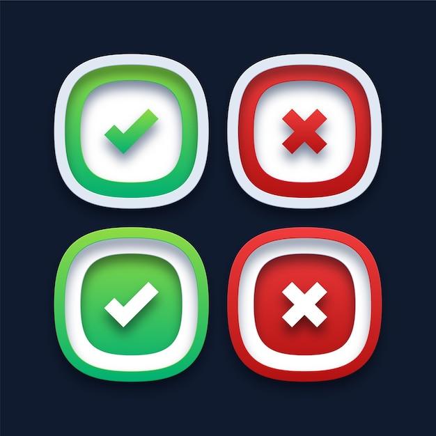 Зеленая галочка и значки красного креста Premium векторы