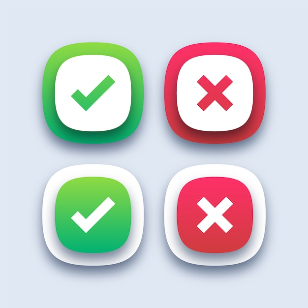 Green checkmark and red cross icons Premium Vector