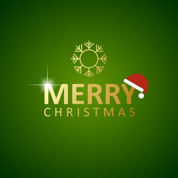 Green christmas background golden with santa claus hat Free Vector