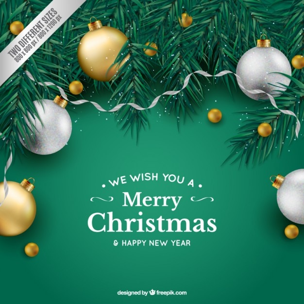 Green christmas background with baubles Free Vector