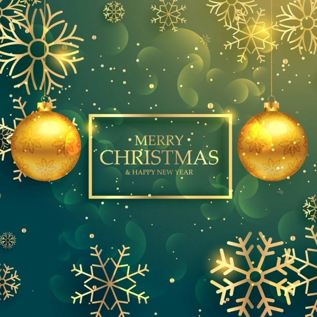 green christmas background with golden snowflakes vector free download
