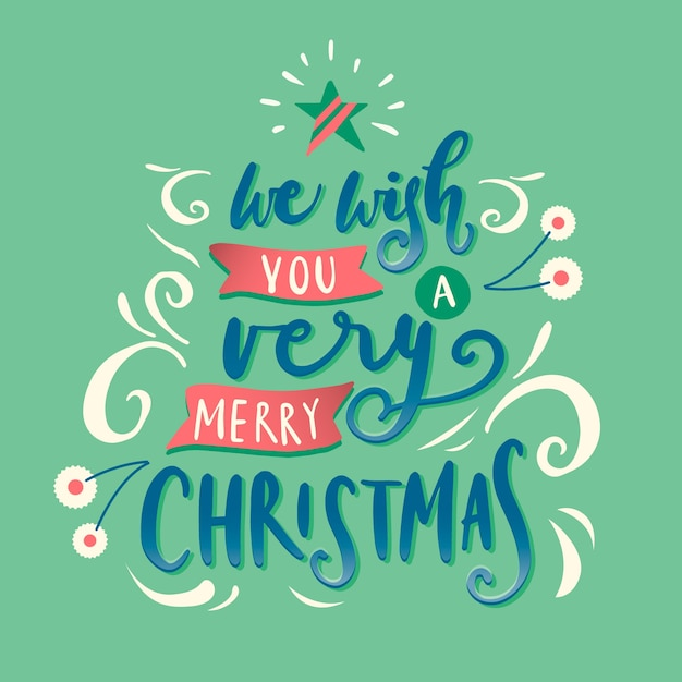 Green christmas lettering Free Vector