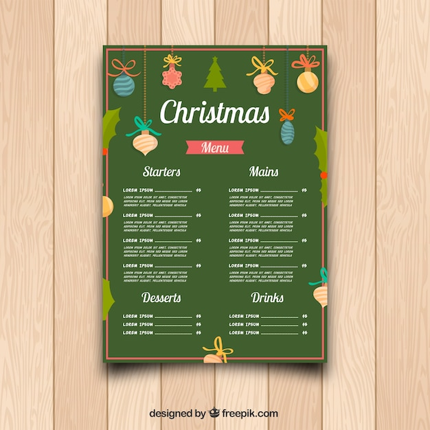 Ristorante Sacchetto Menu Di Natale.Menu Di Natale Verde Con Decorazione Vettore Gratis