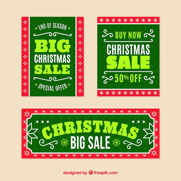 Green christmas sale banners Free Vector