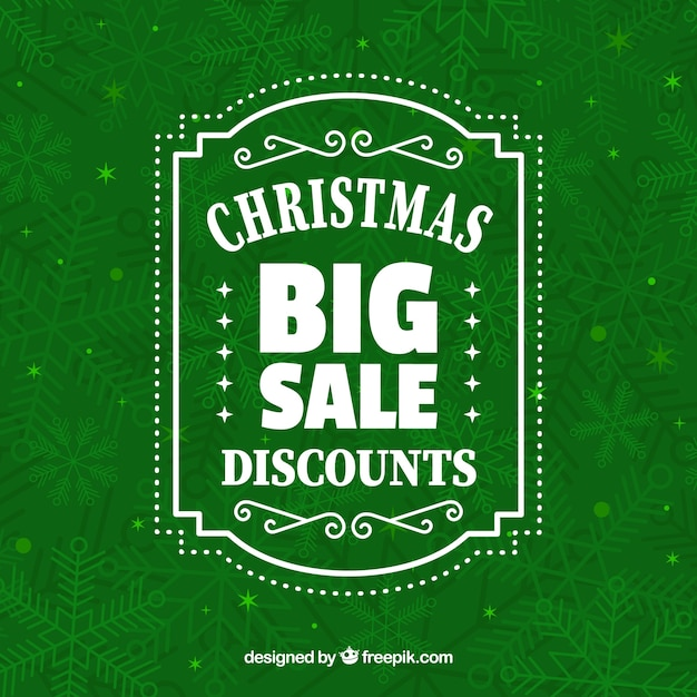 Green christmas sale design Free Vector
