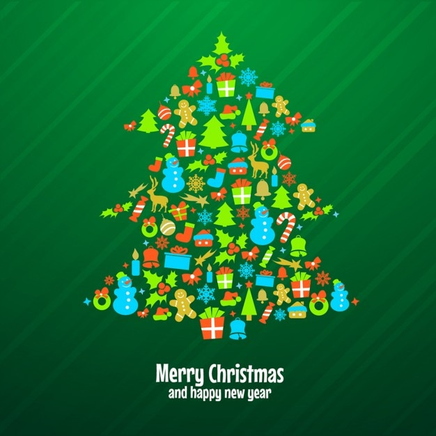 Green christmas tree background made with ornaments Free Vector