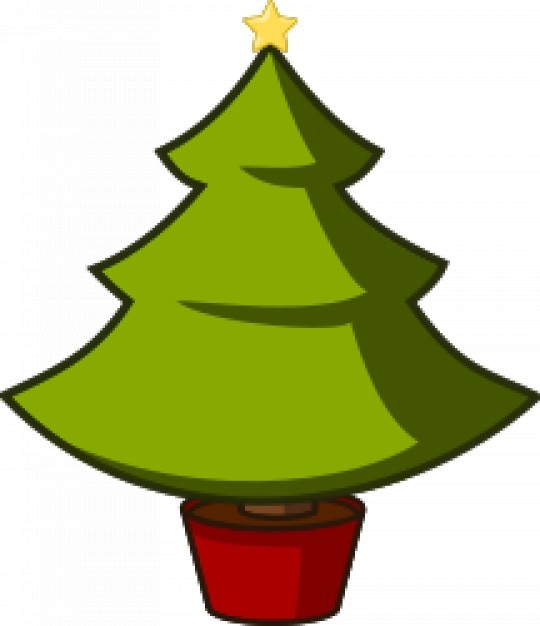 Green christmas tree with yellow star vector free download