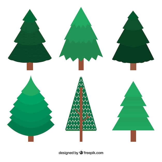 green christmas trees in flat design free vector - Flat Christmas Tree