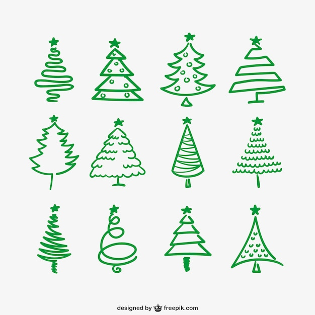 Green Christmas trees outlines Vector | Free Download