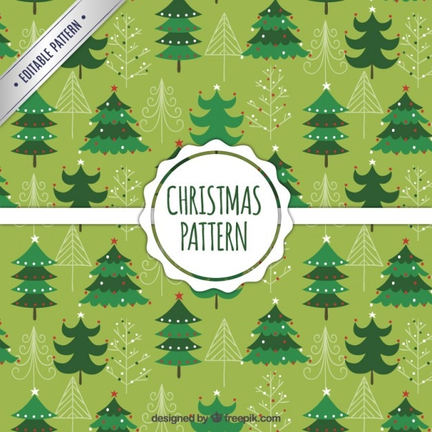 Green christmas trees pattern Free Vector