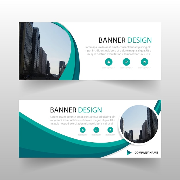 green circle abstract banner template design vector free download