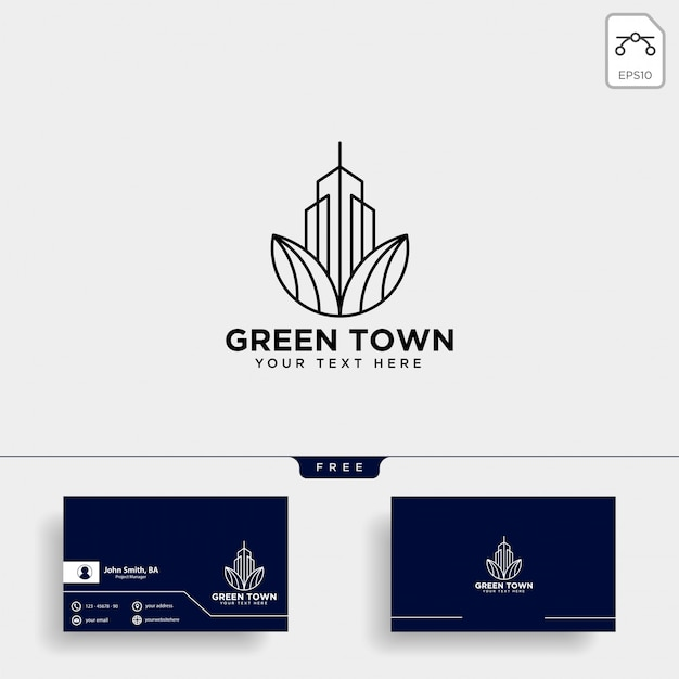 Green city logo and business card template Premium Vector