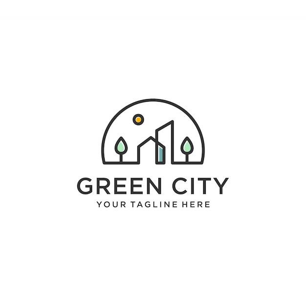 Green City Logo Design Inspiration Line Art Outline Simple Minimalist Premium Premium Vector