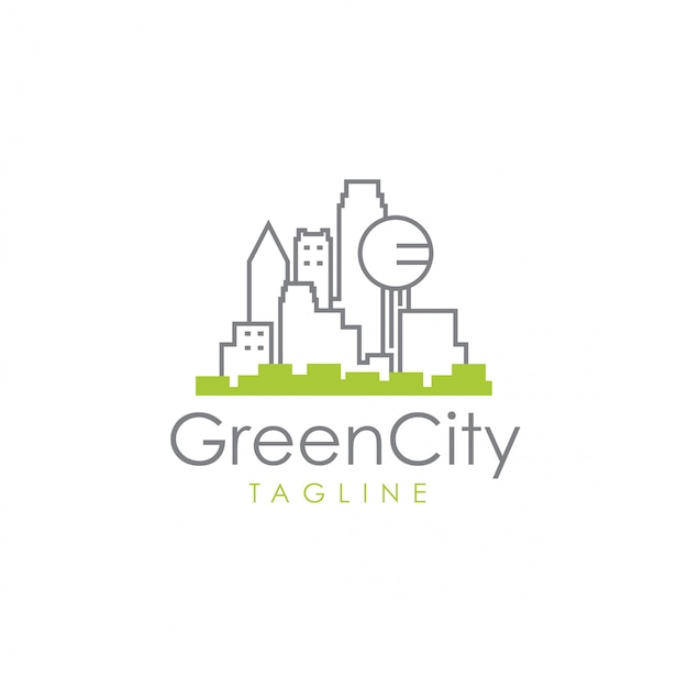 Green city logo Premium Vector