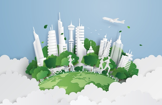 Green city on the sky. Premium Vector