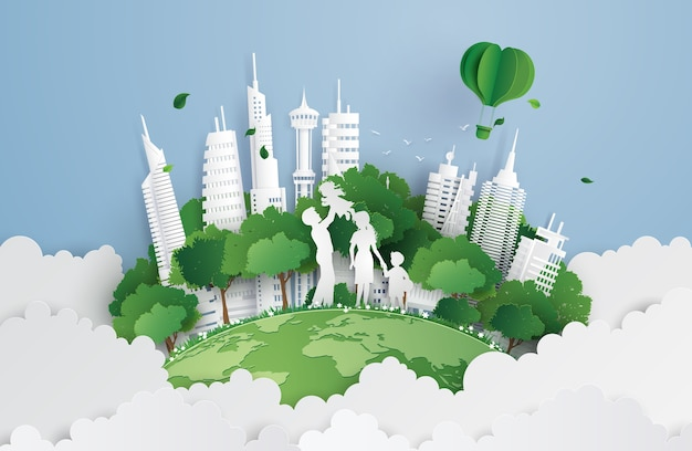 Green city with family Premium Vector