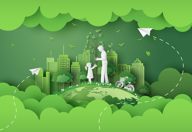 Green city with mom and girl .paper cut and digital craft style. Premium Vector