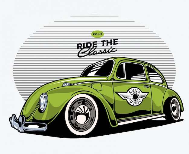 Green classic car Premium Vector