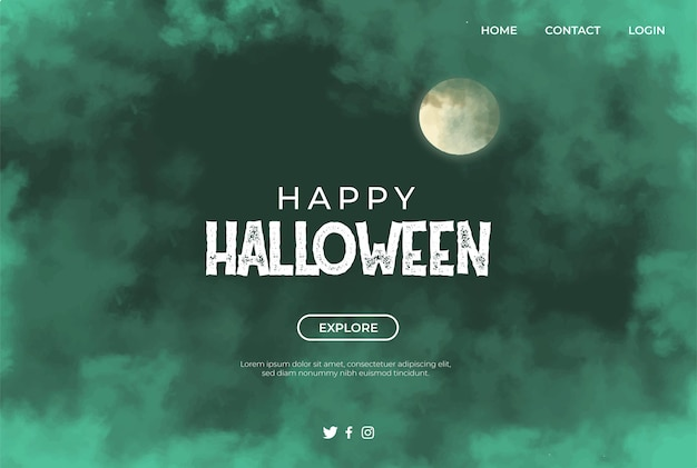 Green clouds and moon banner for haloween Free Vector
