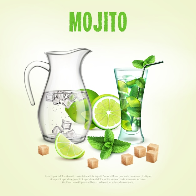 Green cocktails realistic poster Free Vector