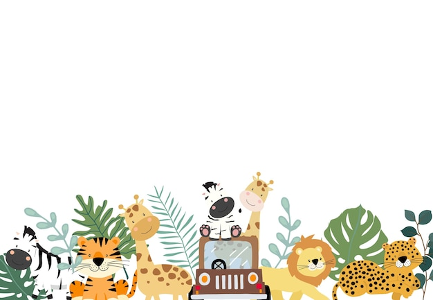 シマウマ、ライオン、キリン入りサファリ背景の緑のコレクション。 Premiumベクター