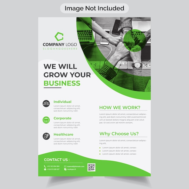Green color corporate business flyer Premium Vector