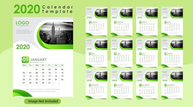 Warna hijau tahun baru tanggalan dinding 2020 Vektor Premium