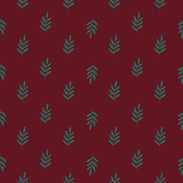 Green colored foliage ornament seamless pattern. doodle diagonal ornament with maroon background. Premium Vector