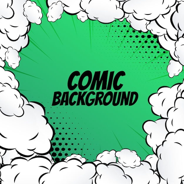 Green comic background with clouds Free Vector