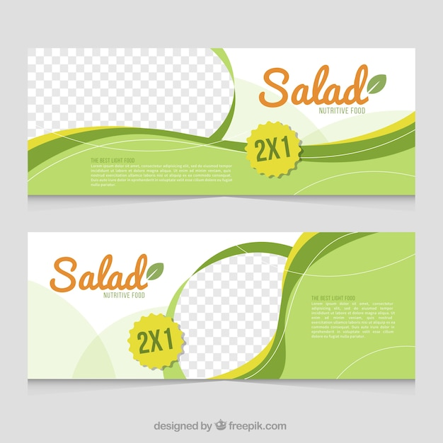 Green cooking banners with wavy shapes Free Vector