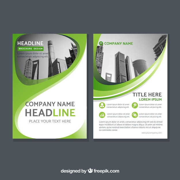 Green corporate abstract brochure Free Vector