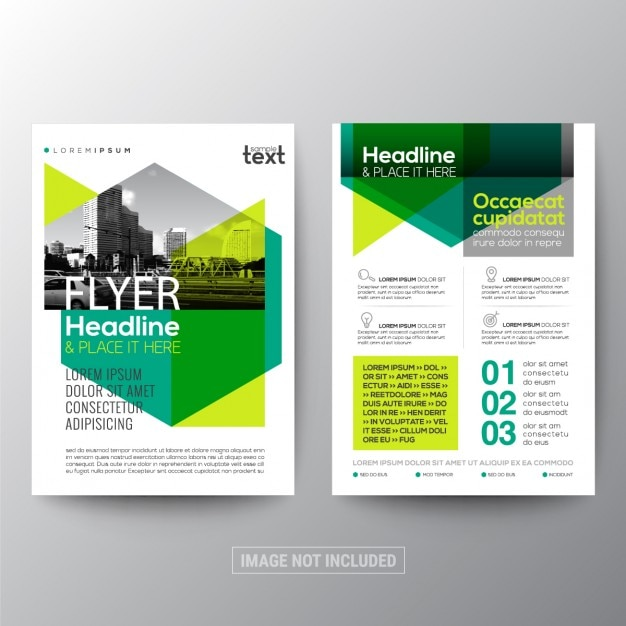 Assez Green corporate brochure with geometric shapes Vector | Free Download OM81