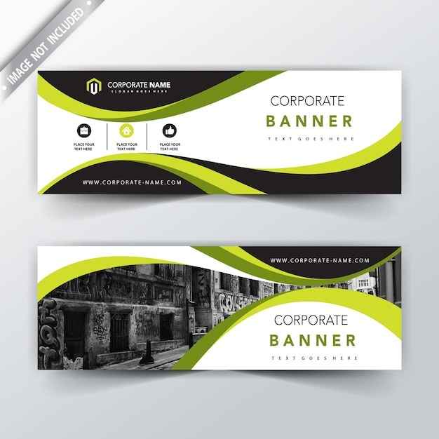 green corporate horizontal banner design Free Vector
