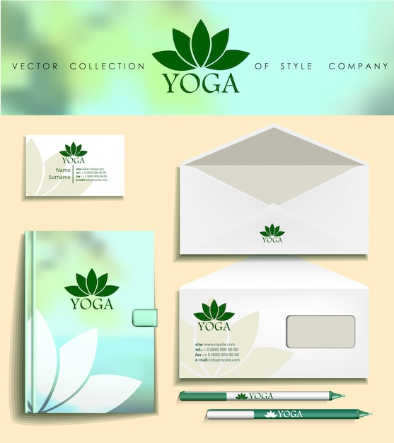 Premium Vector Green Corporate Identity Template Yoga Studios Eco Companies
