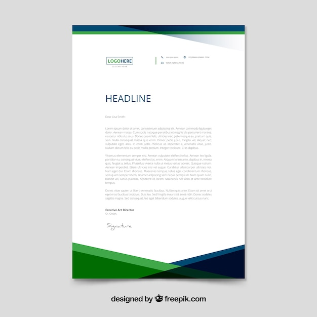 Green Corporate Letterhead Template Vector  Free Download
