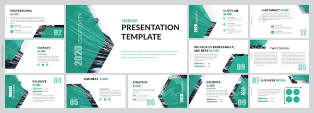 Зеленые элементы корпоративной презентации Premium векторы
