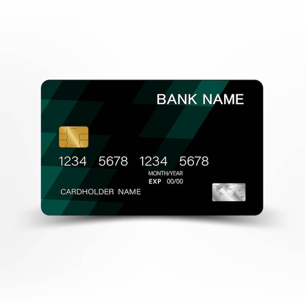 Green credit card template design. Premium Vector