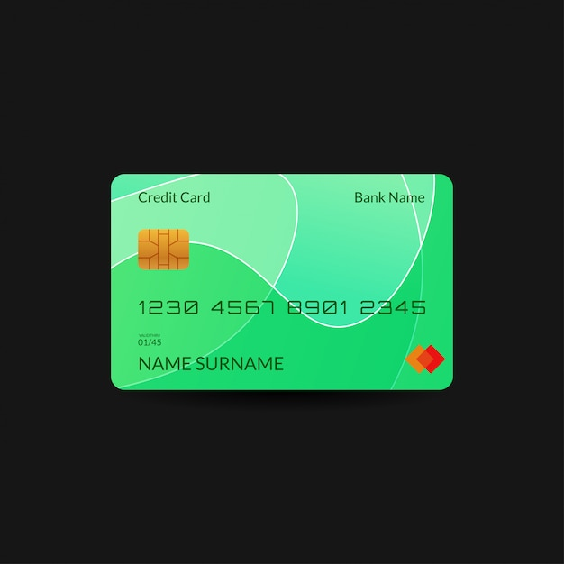 Green credit card template with gradient wave  and editable text Premium Vector