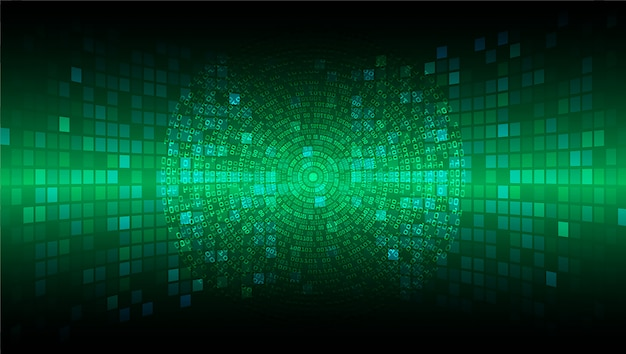 Green cyber circuit future technology concept background Premium Vector
