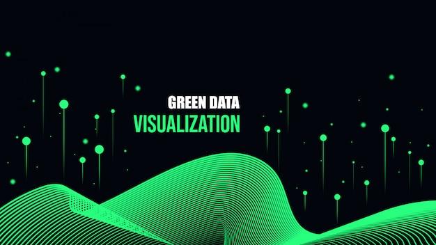 緑のサイバーデータの可視化の背景。 Premiumベクター