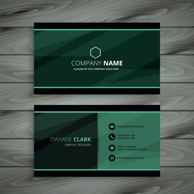 Green dark business card Free Vector