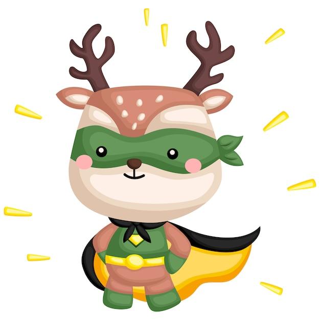 Green deer superhero Premium Vector