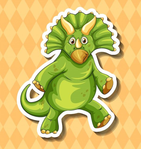 Green dinosaur on orange Free Vector