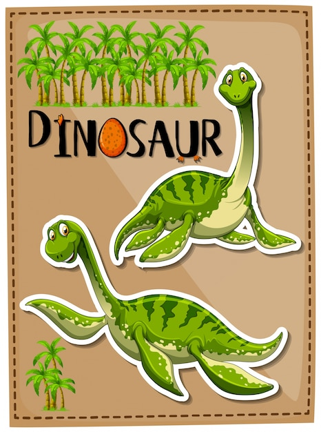 Green dinosaur with happy face Free Vector