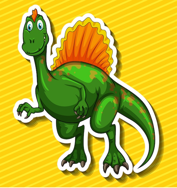 Green dinosaur on yellow Free Vector