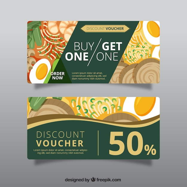 Superb Green Discount Voucher For Restaurant Free Vector With Free Discount Vouchers