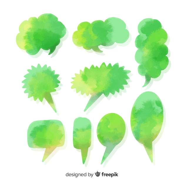 Green diverse watercolored speech bubbles Free Vector