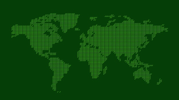 Green dotted world map Premium Vector